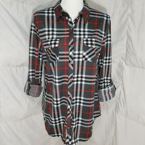 Cute long sleeve striped button up shirt, size M-L